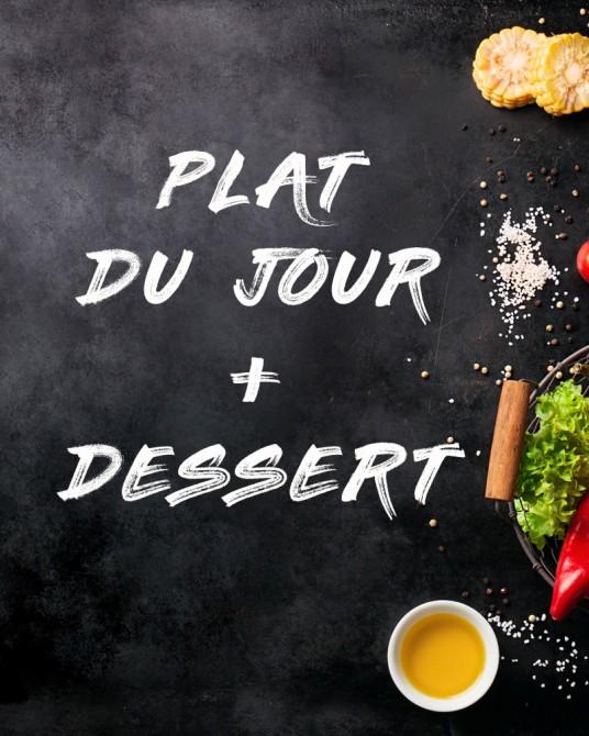 Plat du jour + Dessert: Cuisse de Canard sauce poivre noir et linguini